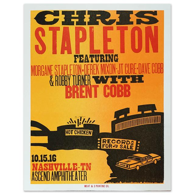 Chris Stapleton Show Poster – Nashville, TN 10/15/16 Second of Two
