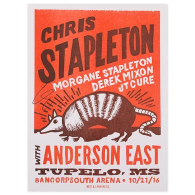 Chris Stapleton Signed Show Poster – Tupelo, MS 10/21/16