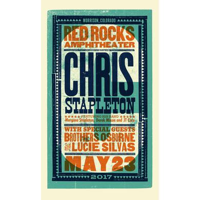 Chris Stapleton Show Poster – Red Rocks, CO 5/23/17 First of Two