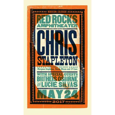 Chris Stapleton Show Poster – Red Rocks, CO 5/24/17 Second of Two