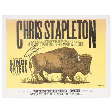 Signed Chris Stapleton Show Poster – Winnipeg, Manitoba 3/22/17