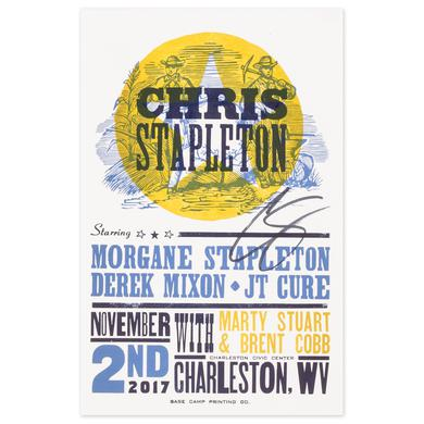 Signed Chris Stapleton Show Poster – Charleston, WV 11/2/17