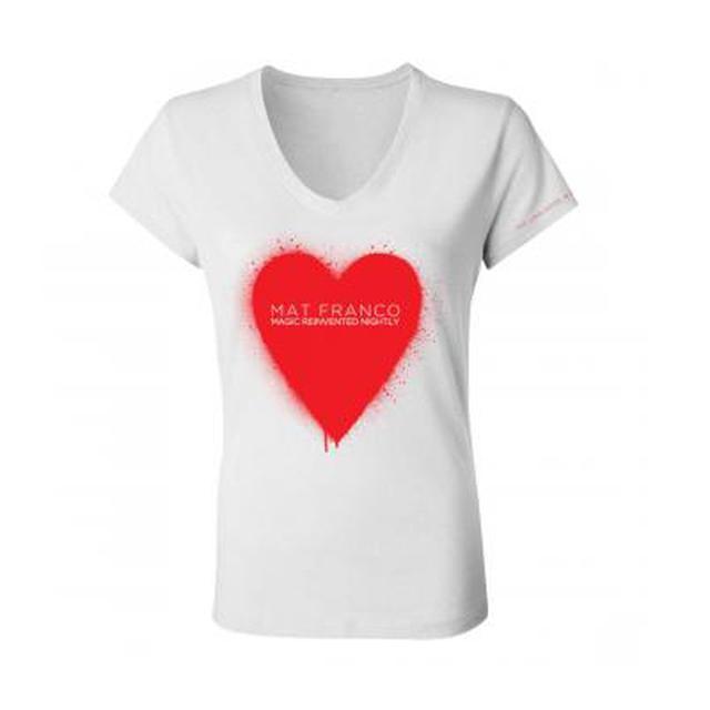 Mat Franco Hearts Spraypaint V-Neck Junior T-Shirt