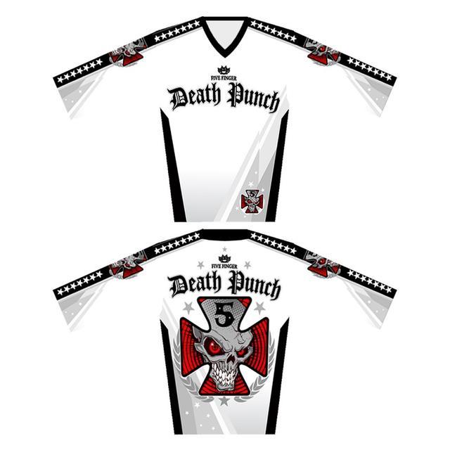 Five Finger Death Punch Iron Cross White Moto Jersey