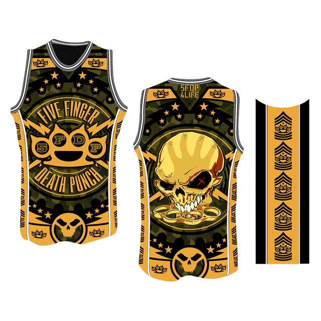 Five Finger Death Punch Chevron B-Ball Yellow Jersey