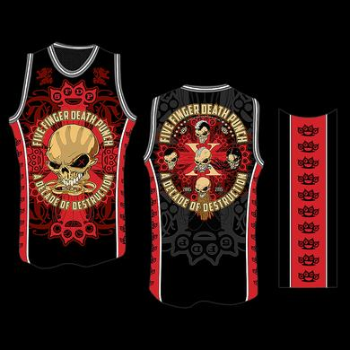 Five Finger Death Punch Bonehead B-Ball Red Jersey