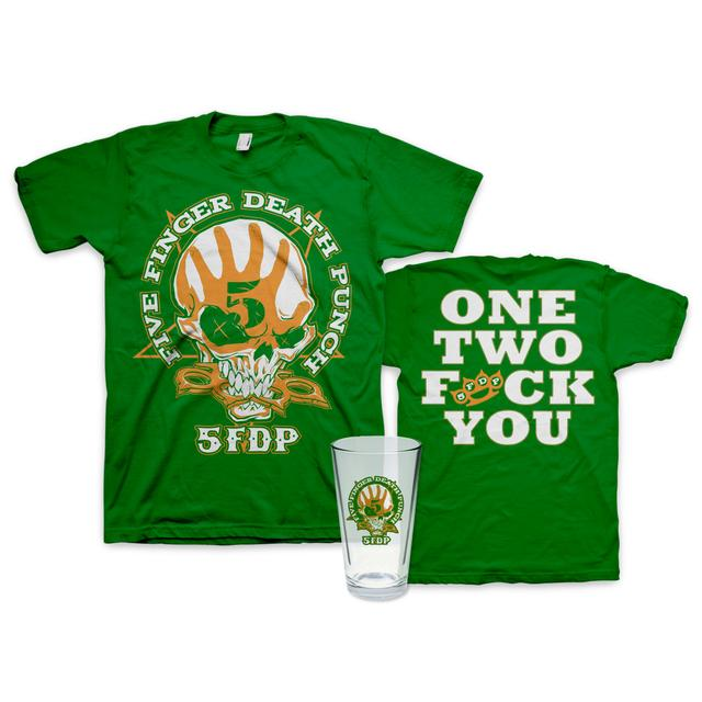 Five Finger Death Punch St. Paddy's Day T-Shirt + Pint Glass Bundle