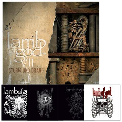 Lamb Of God VII: Sturm Und Drang Album + Sticker Set Bundle