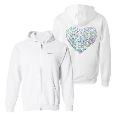 Coldplay AHFOD Lyric Full-Zip Unisex Hooded Sweatshirt