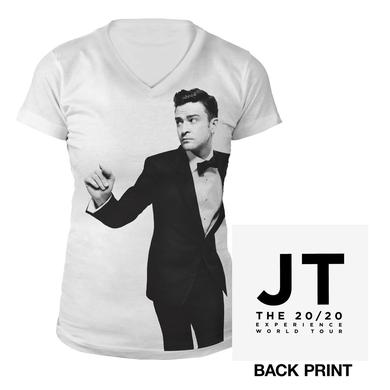 Justin Timberlake Ladies Black & White V-Neck