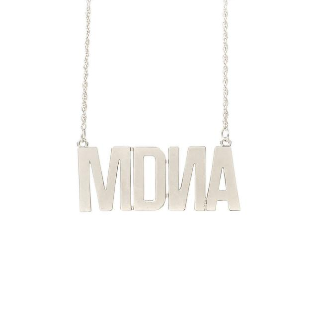 "Madonna """"MDNA"""" Charm White Gold Necklace"