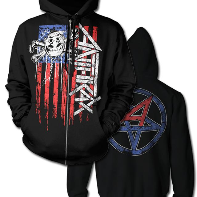 Anthrax VERTICAL FLAG ZIP HOODIE WITH EARBUDS