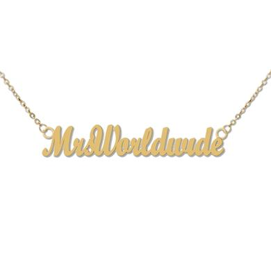 PITBULL Mrs. Worldwide Matte Gold Necklace