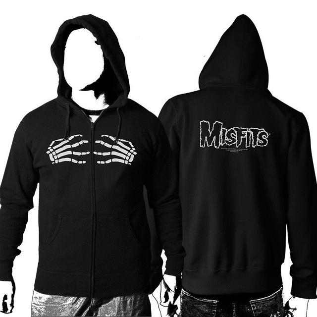 The Misfits Skeleton Hands Zip Up Hoodie