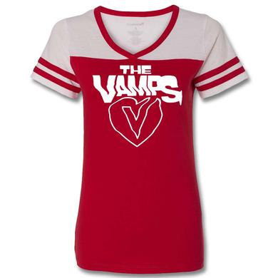 The Vamps Simple Heart Football V-Neck T-Shirt - Juniors