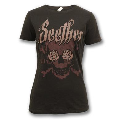 Seether Rose Eyed Skull 2014 T-Shirt - Women's