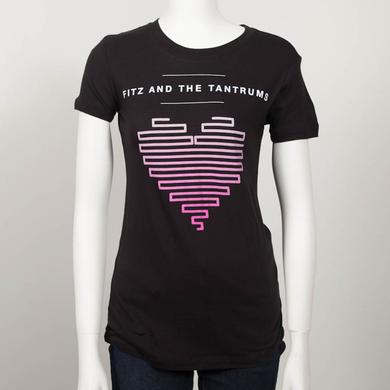 Fitz & The Tantrums Lined Up Heart Juniors T-Shirt (Black)