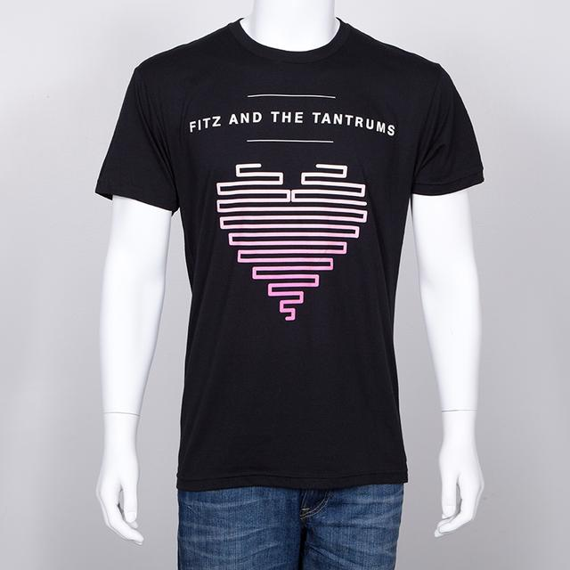 Fitz & The Tantrums Lined Up Heart Unisex T-Shirt (Black)