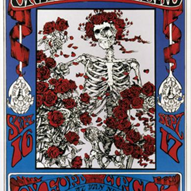 Family Dog Skeleton & Roses Lithograph