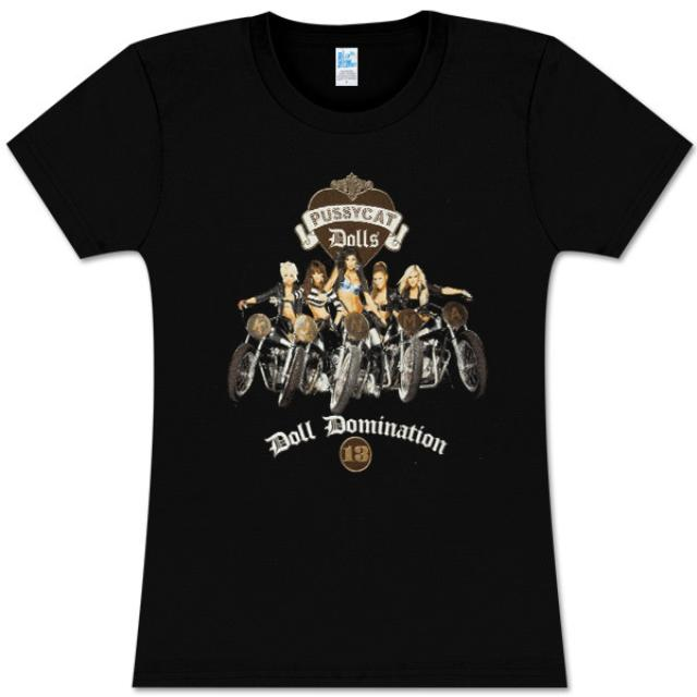 Pussycat Dolls Motorcycles Girls Black Fitted Tee