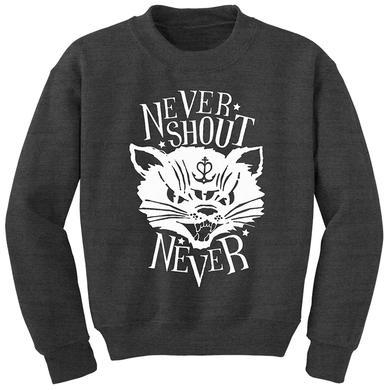 Never Shout Never Pop Kitty Crewneck Sweatshirt Heather Grey