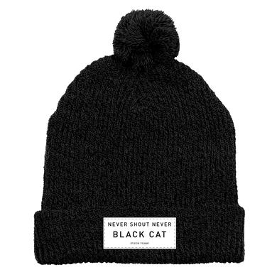 Never Shout Never Black Cat F Yeah Label Pom Beanie