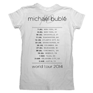 Michael Buble On The Mic 2014 Tour T-Shirt Juniors White