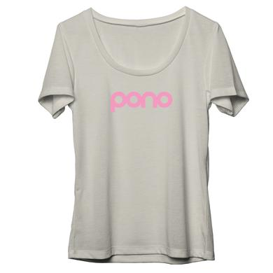 Neil Young 100% Organic Cotton pink Pono logo Women's Scoop Neck Natural T-Shirt