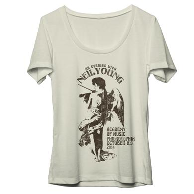 Neil Young Philadelphia Fiddle Natural Womens T-Shirt