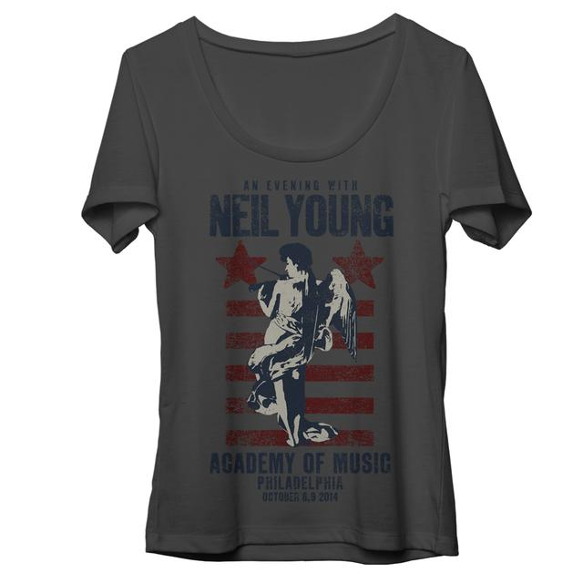 Neil Young Philadelphia Gray Womens T-Shirt