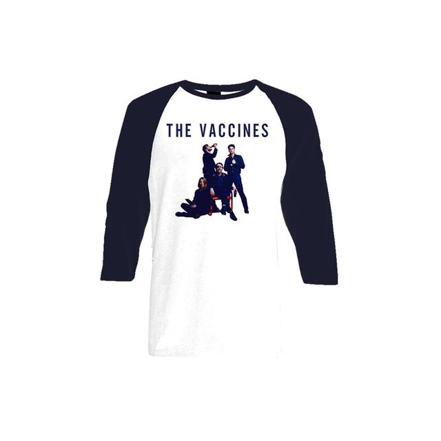 The Vaccines Album Cover White and Navy Baseball Tee