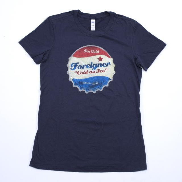 Foreigner Cold As Ice Women's Vintage Bottle Cap T-Shirt