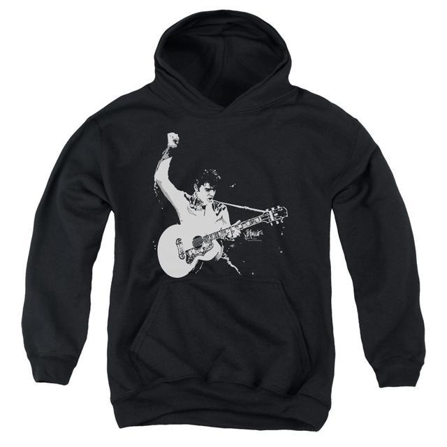 Elvis Presley Youth Hoodie | BLACK & WHITE GUITAR MAN Pull-Over Sweatshirt