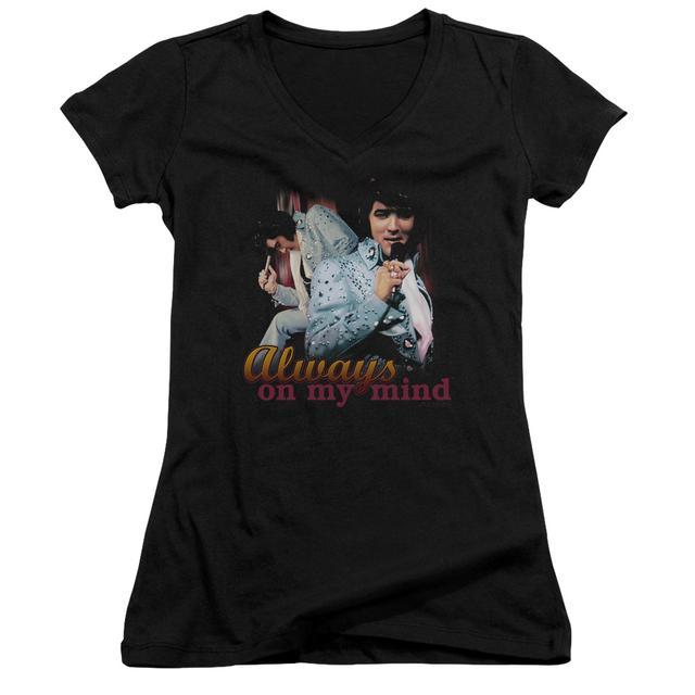 Elvis Presley Junior's V-Neck Shirt | ALWAYS ON MY MIND Junior's Tee
