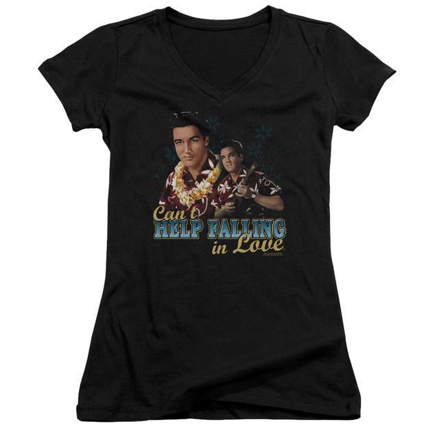 Elvis Presley Junior's V-Neck Shirt   CAN'T HELP FALLING Junior's Tee