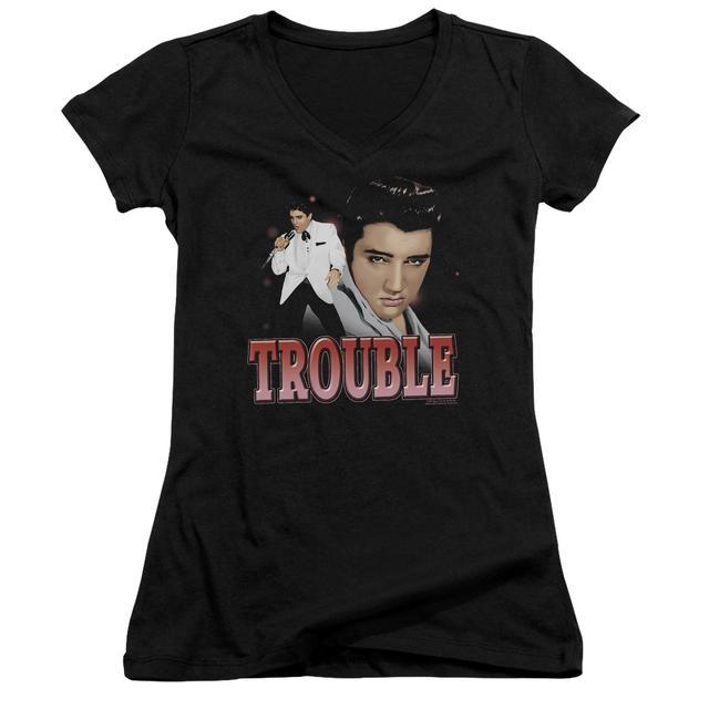 Elvis Presley Junior's V-Neck Shirt | TROUBLE Junior's Tee