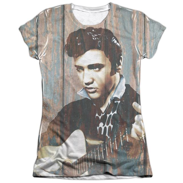 Elvis Presley Junior's Shirt | WOODGRAIN (FRONT/BACK PRINT) Junior's Tee