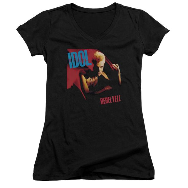 Billy Idol Junior's V-Neck Shirt | REBEL YELL Junior's Tee