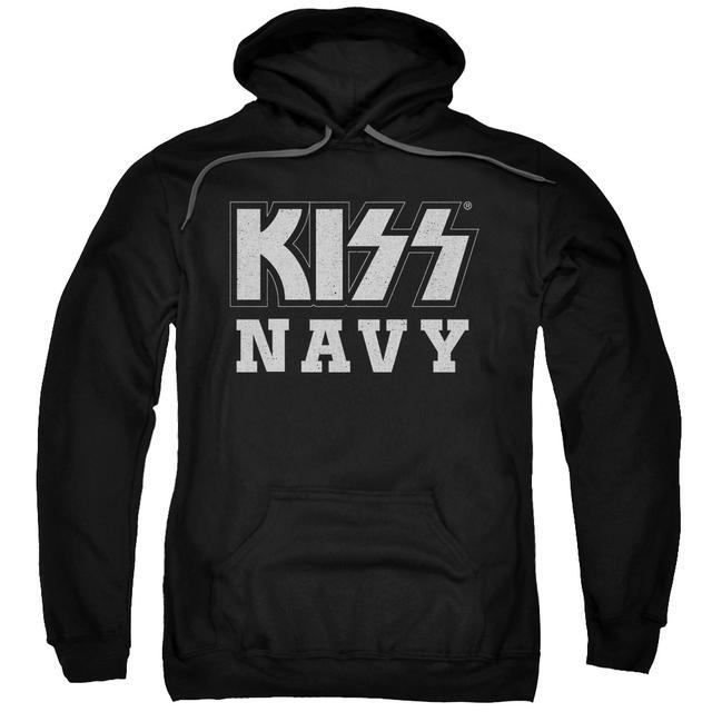 Kiss Hoodie | NAVY BLOCK Pull-Over Sweatshirt