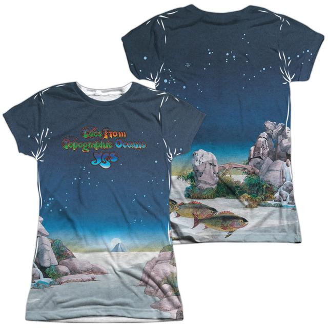 Yes Junior's T Shirt | TOPOGRAPHIC OCEANS (FRONT/BACK PRINT) Sublimated Tee