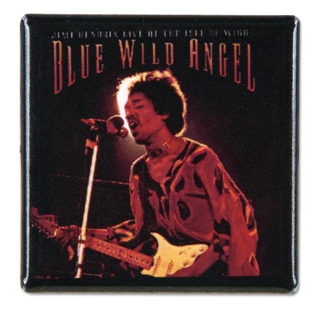 Jimi Hendrix Square Button Blue Wild Angel