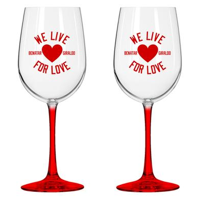Pat Benatar We Live For Love Wine Glass Set