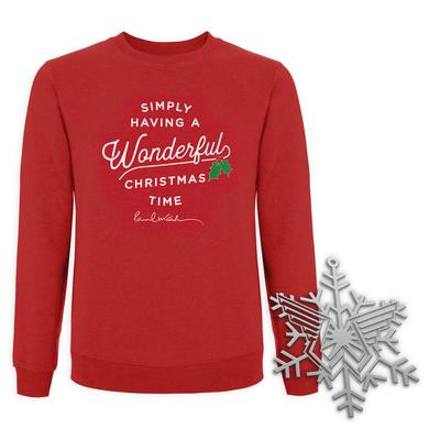 Paul Mccartney Wonderful Christmas Time Sweatshirt and Ornament Bundle