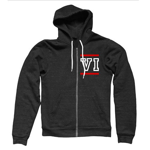 You Me At Six VI Roman Numerals Zip Through Hooded Black Sweat