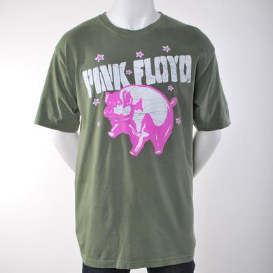 Pink Floyd Green Batik Print Flying Pig T-Shirt