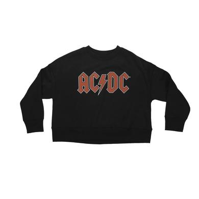 AC/DC Women's Cropped Crew Neck Logo Sweatshirt