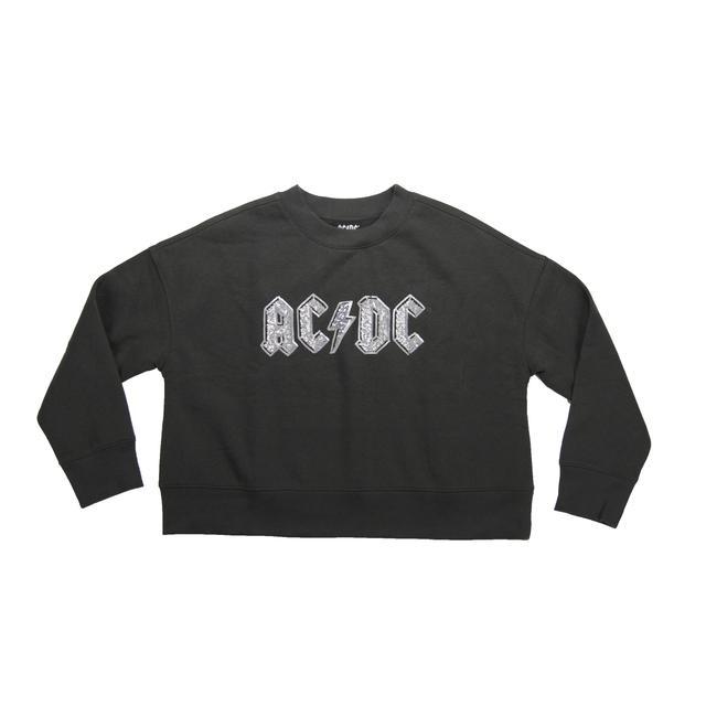 AC/DC Women's Crew Neck Cropped Jewel Logo Sweatshirt