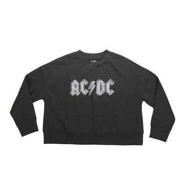 AC/DC Women's Crew Neck Cropped Jewel Logo Sweatshirt