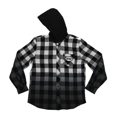 AC/DC Men's Button Up Hooded Flannel Shirt