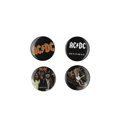 AC/DC Lips, Logos & A Highway To Hell 4 Button Pack